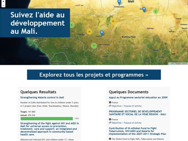 Publish What You Fund's visualisation of aid projects in Mali